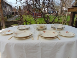 Set of vintage Petrus Regout plates and gravy boat