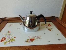 Double walled vintage chrome teapot