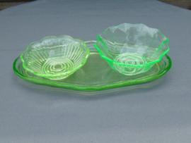 Uranium glass presentation trays on bottom tray