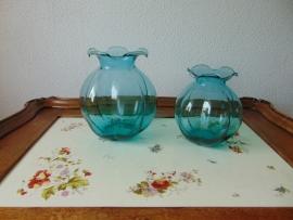 Set blauw/groene glazen Art Decó vazen