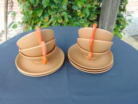 """Art Deco Petrus Regout """"Thea"""" tea cups"""