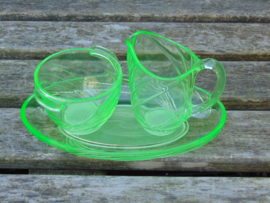 Uranium glass cream set