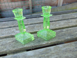 Beautiful uranium glass candlesticks