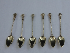 6 Antique silver mocca spoons.