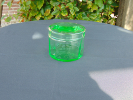 Uranium glass jar with lid