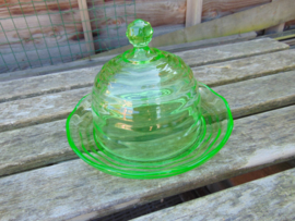 Uranium glass cheese jar