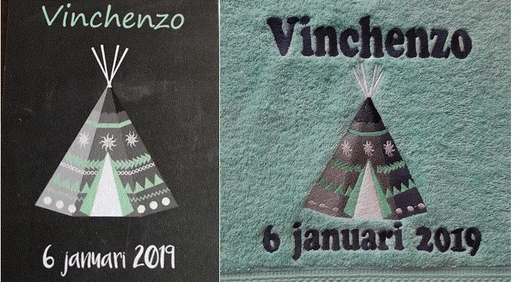 Handdoeken met geboortekaartje of eigen wens/ontwerp