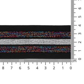 Sierelastiek - gestreept zwart/multicolour - 40mm