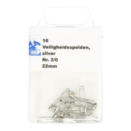 Veiligheidsspelden 22 mm zilver - 16 stuks