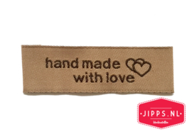Handmade with love - naailabel bruin
