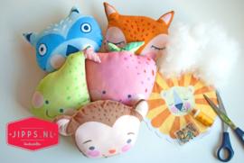 Daydream softies stofpanel 6 knuffels - Blend Fabrics - 100% katoen