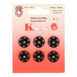 Aannaaidrukknopen 16 mm zwart - Koh I Noor