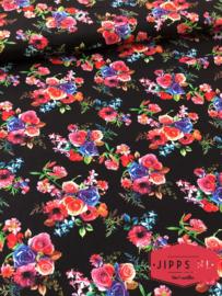 Bloemen bedrukt zwart - 100% vicose
