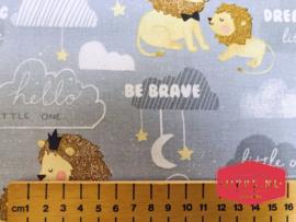 Little Lion Gray - 3 Wishes Fabric - 100% katoen
