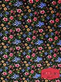 Zwart met gekleurde bloemen - 100% viscose