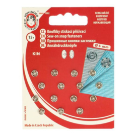 Aannaaidrukknopen 6 mm zilver - Koh I Noor