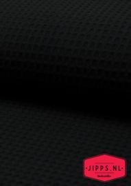Wafelstof zwart - 100% katoen