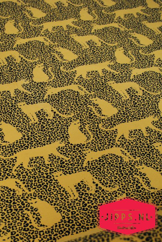 Luipaard oker - QjutieKids - French Terry