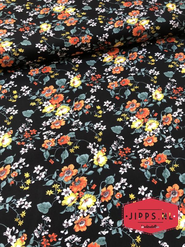 Bloemen oranje en geel - 100% katoen