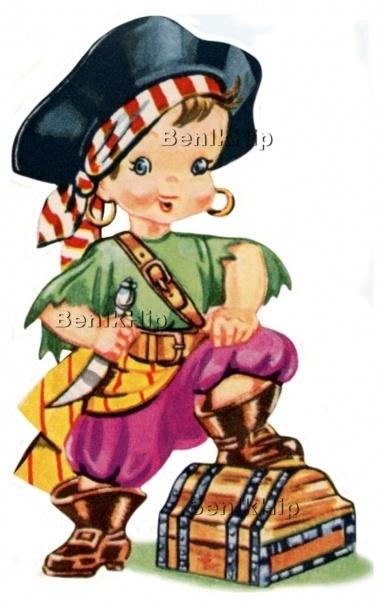 Strijkapplicatie Piraatje vintage (13032)