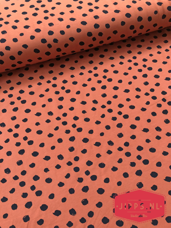 Roestbruin dots - tricot - 95%CO/5%EL