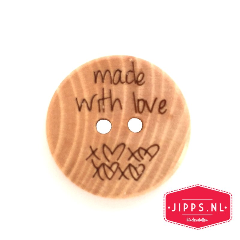 Made with love - houten knoop 20 mm