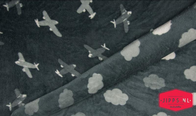 Plane & Clouds - Fleece Jacquard dubbelzijdig