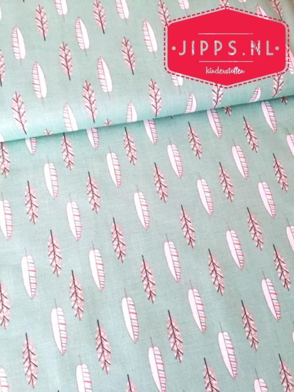 Veertjes - Little Ones Green - 3 Wishes Fabric - 100% katoen
