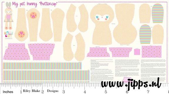 Bunny Buttercup panel - Riley Blake Designs - 100% katoen
