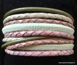 Wikkelarmband mint groen grijs olijf