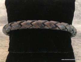 Armband rondgevlochten jeansblauw