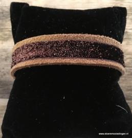 Ibiza style armband cognac bruinglitter