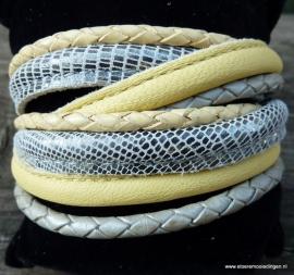 Wikkelarmband geel zilver grijs