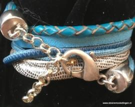 Wikkelarmband turquoise zeeblauw