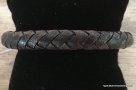 Armband rondgevlochten vintage zwart