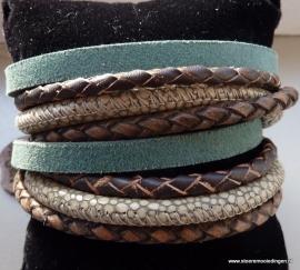 Wikkelarmband emerald groen bruin