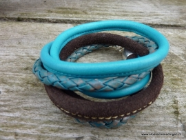 Wikkelarmband turquoise bruin