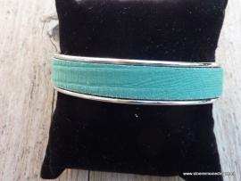 armband metaal emerald groen leder