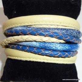 Wikkelarmband blauw zachtgeel