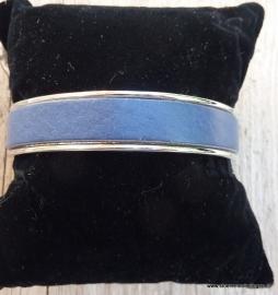 armband metaal blauw leder