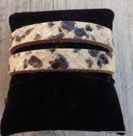 Gesp armband beige zwart slangenprint