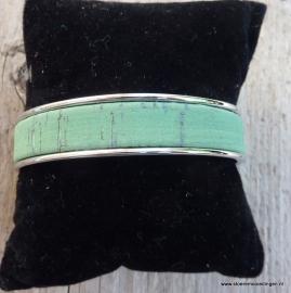 armband metaal groen kurk