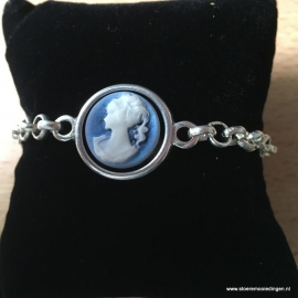 Camee lady blauw schakelarmband