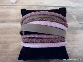 Wikkelarmband violet roze taupe