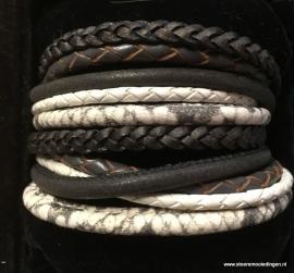 Wikkelarmband zwart grijs wit