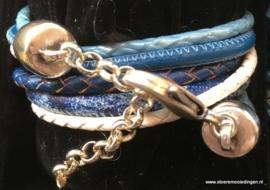 Wikkelarmband blauw wit