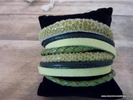 Wikkelarmband lime groen donkergroen