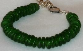 Armband glaskralen schijfjes groen