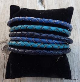 Wikkelarmband 3 -tinten blauw