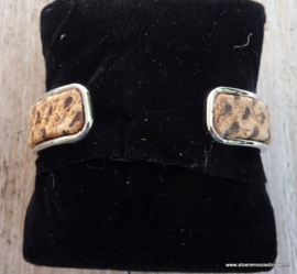 armband metaal camel bruin kurk